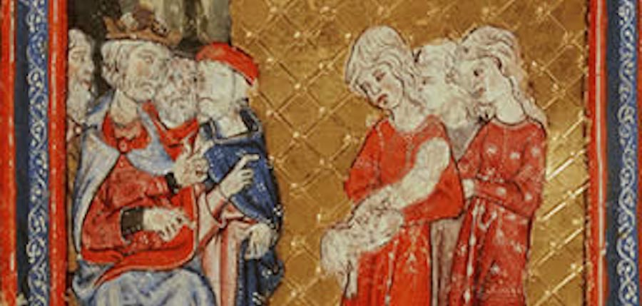 Golden Haggadah Detail of the Midwives before Pharoah folio 8a